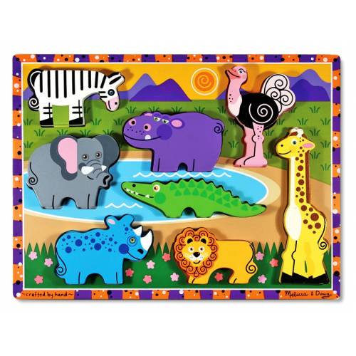 Puzzle lemn in relief Safari Melissa and Doug