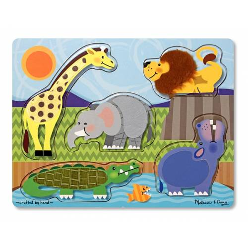 Puzzle de lemn Atinge si descopera Animale Zoo Melissa and Doug