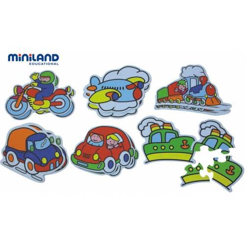 Puzzle tematic cu mijloace de transport Miniland 3-5 piese