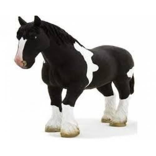 Figurina Cal Clydesdale alb si negru