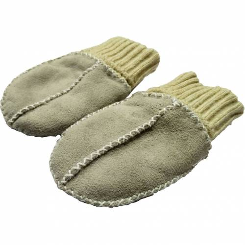 Manusi din piele si blanita de miel cu mansete tricotate Altabebe MT4030L-01