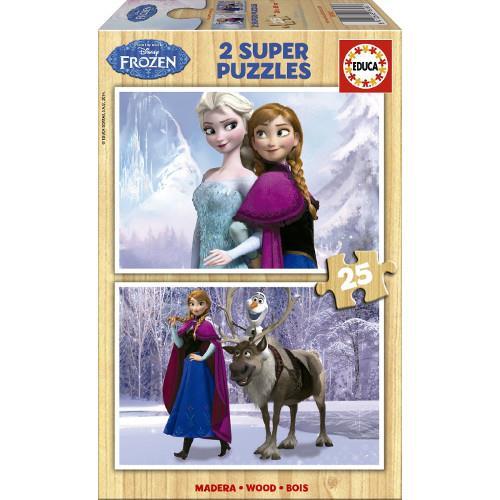 Puzzle din Lemn Frozen, 2x25 piese