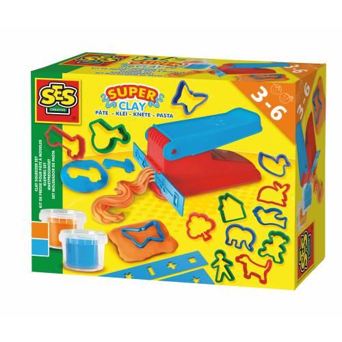 SES Modelaj - SUPER Set (2 culori, presa, 12 forme)