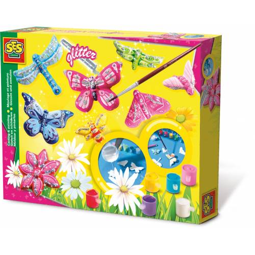 SES Hobby fete - Set creativ mulaj 2D si pictura - Fluturasi cu sclipici
