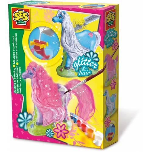 SES Hobby fete - Set creativ mulaj 3D si pictura - Cal cu coama