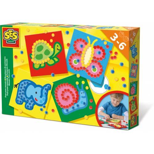 SES Prescolari - Set creativ mozaic cu pom-pom (4 modele)