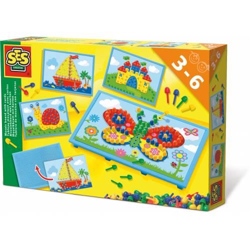 SES Prescolari - Set creativ mozaic cu pioni (4 modele)