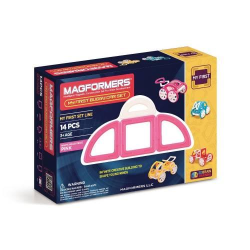 Joc de constructie magnetic MAGFORMERS - My First - Masina roz (14 piese)