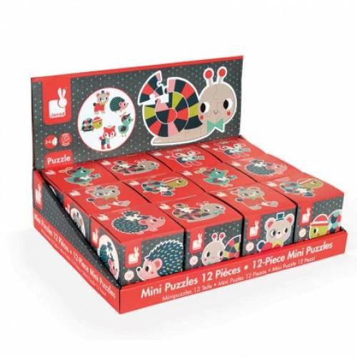 Mini puzzle - Animale de padure (12 piese) - Janod