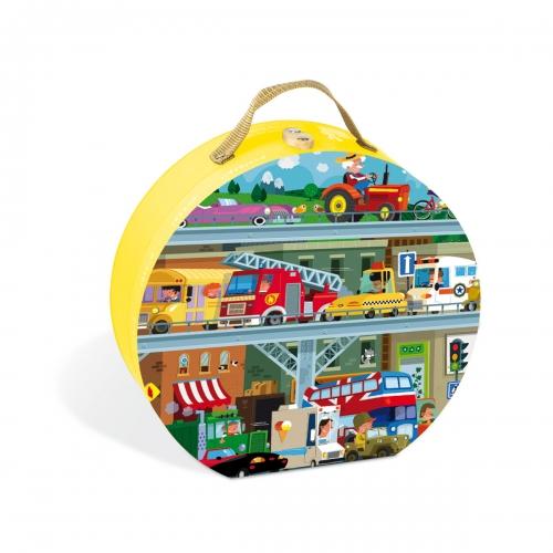 Puzzle in cutie - Vehicule (100 piese) - Janod (J02877)