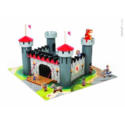 Set de joaca din lemn - Castelul cavalerului (puzzle 30 piese & 9 accesorii) - Janod