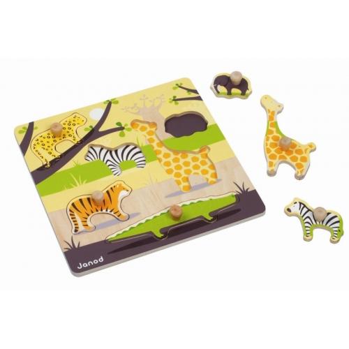 Puzzle cu maner-Animalele din savana (6 piese) - Janod (J07626)