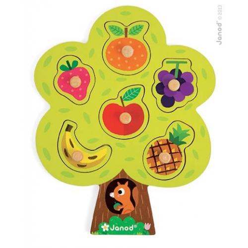 Puzzle cu maner - Pomul fructifer (6 bucati) - Janod (J07061)