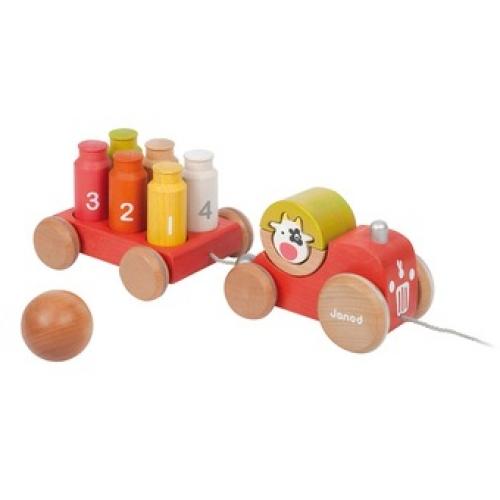 Jucarie de tras din lemn - Tractorul pentru bowling - Janod (J08116)