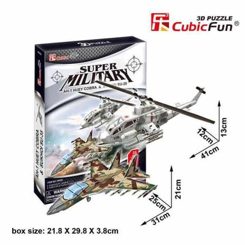Avion si elicopter de lupta - Colectia de puzzle 3D Super Military - 102 piese