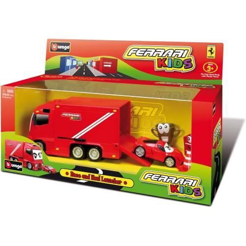 Set camion si masinuta de curse Ferrari Kids - 1:43