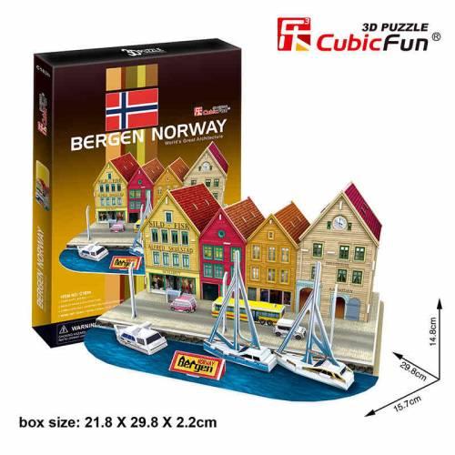 Bergen Norvegia - Puzzle 3D - 44 de piese
