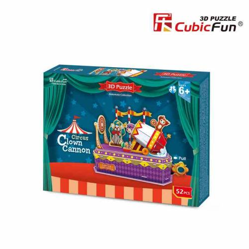 Tunul clovnului - Colectia de puzzle 3D Lumea Circului - 52 de piese